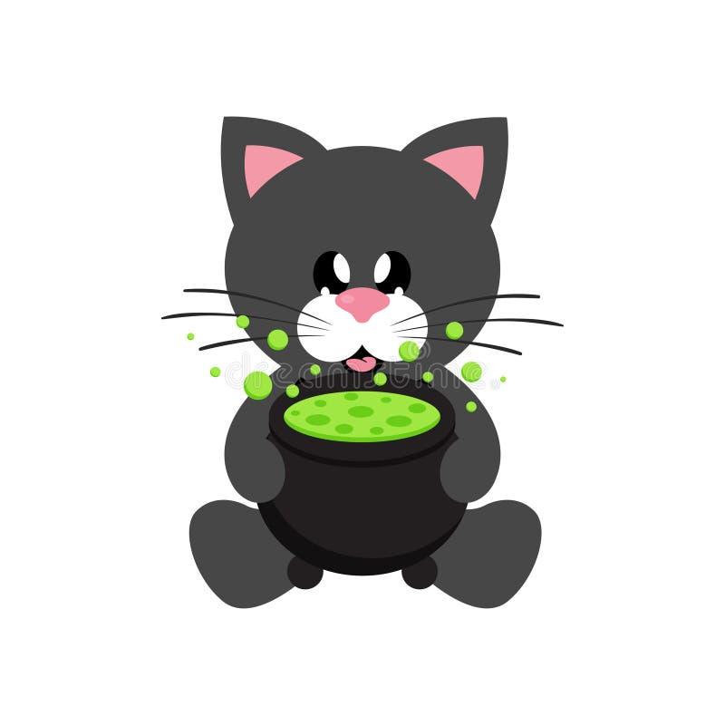 Séance noire de chat mignon de bande dessinée avec le lien et le chaudron illustration stock