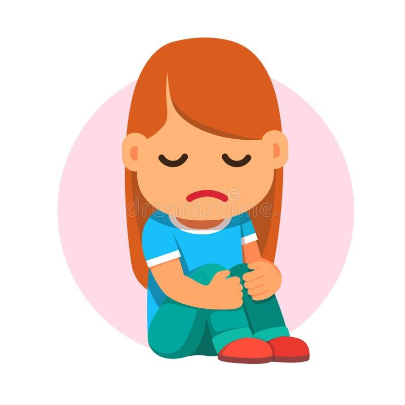 Séance triste de fille et étreindre malheureusement ses genoux illustration libre de droits