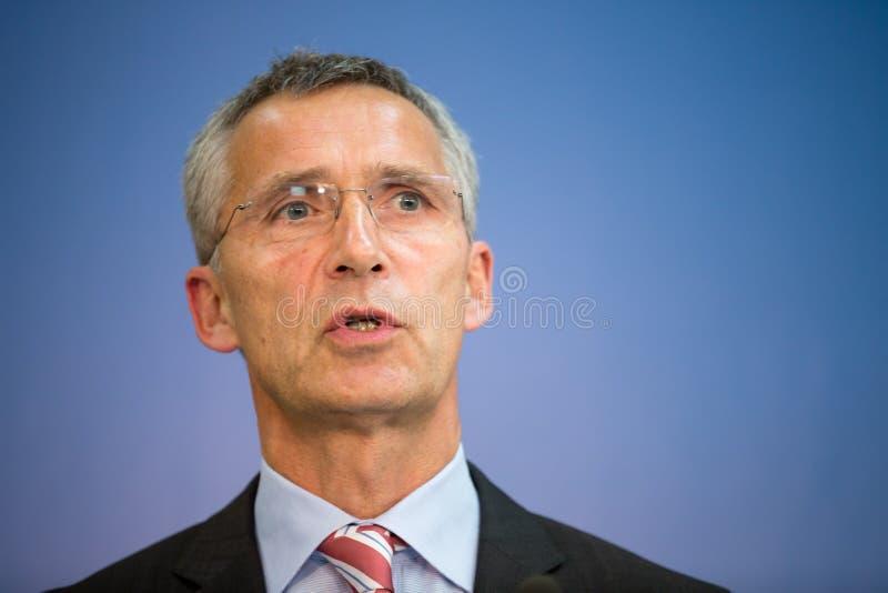 Sécrétaire général d'OTAN Jens Stoltenberg photographie stock libre de droits