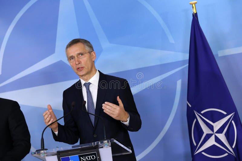 Sécrétaire général d'OTAN Jens Stoltenberg image libre de droits