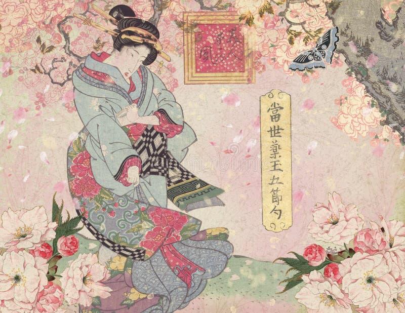 Século XVIII de Japão do vintage - cortesã com Cherry Blossoms Background ilustração stock