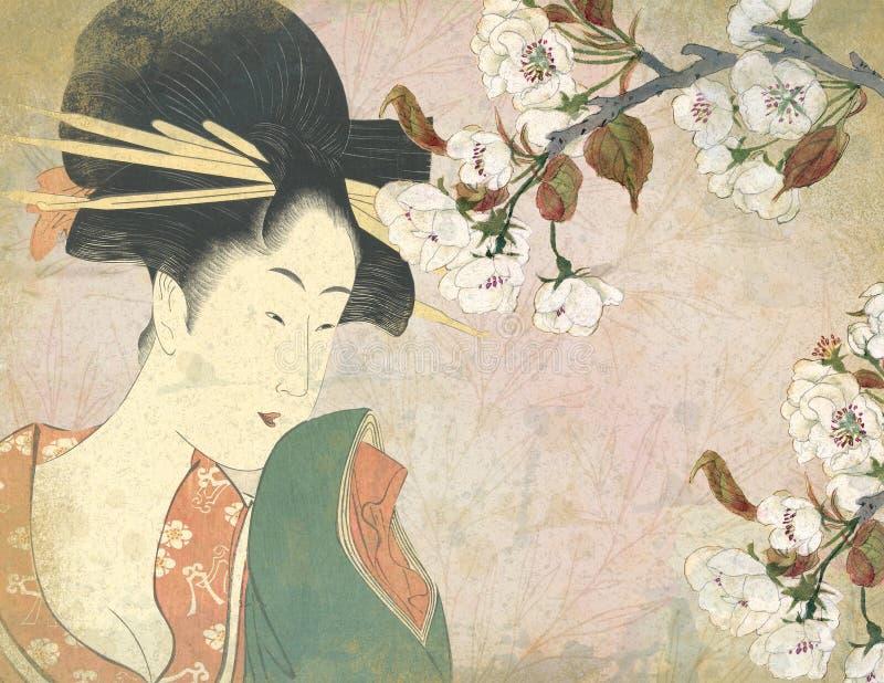 Século XVIII de Japão do vintage - cortesã com Cherry Blossoms Background ilustração do vetor