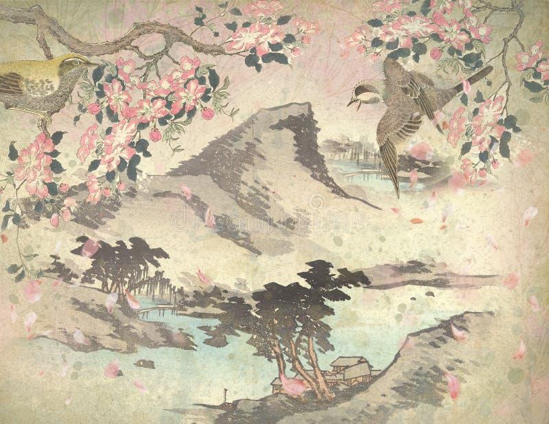 Século XVIII de Japão do vintage - montanha japonesa - mola - Cherry Blossoms Background Paper - pássaros japoneses ilustração do vetor