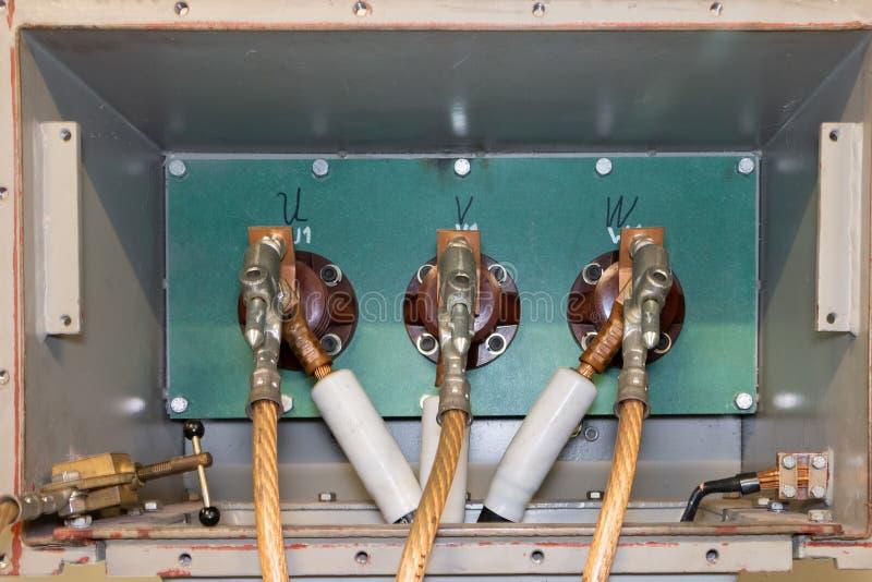 Sécurité électrique et câblage de mise à la terre évident de moteur photos libres de droits