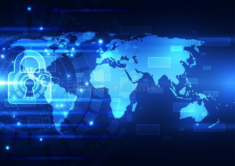 Sécurité abstraite de technologie sur le fond de réseau global, illustration de vecteur illustration de vecteur
