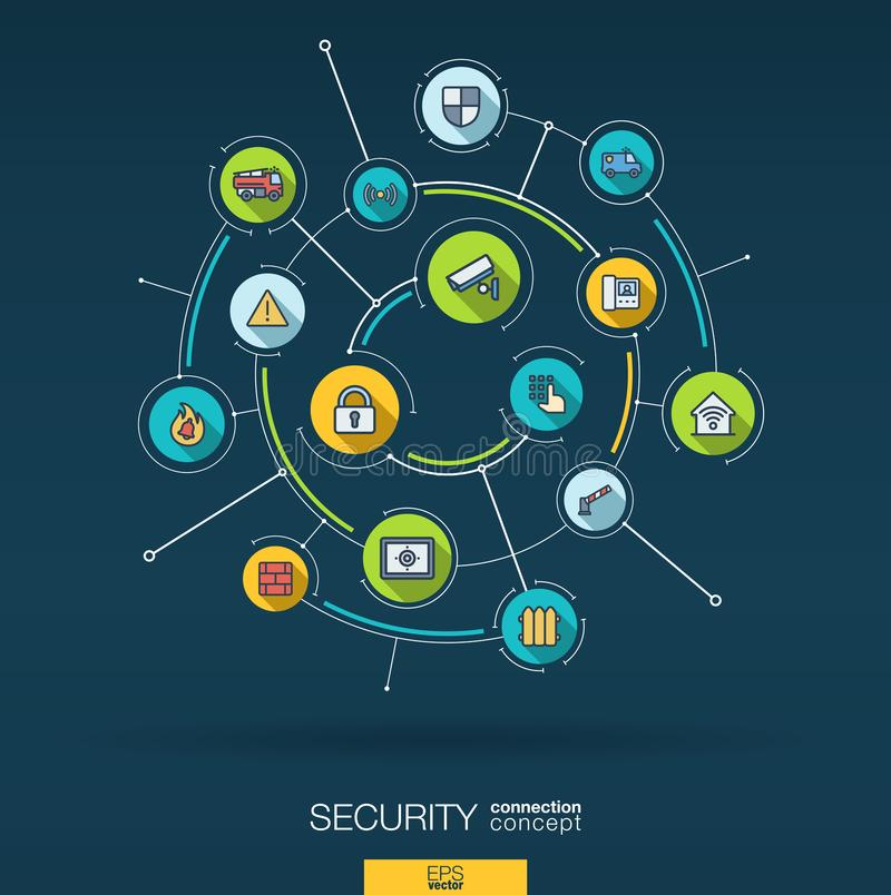 Sécurité abstraite, fond de contrôle d'accès Digital relient le système aux cercles intégrés, ligne mince plate icônes illustration libre de droits