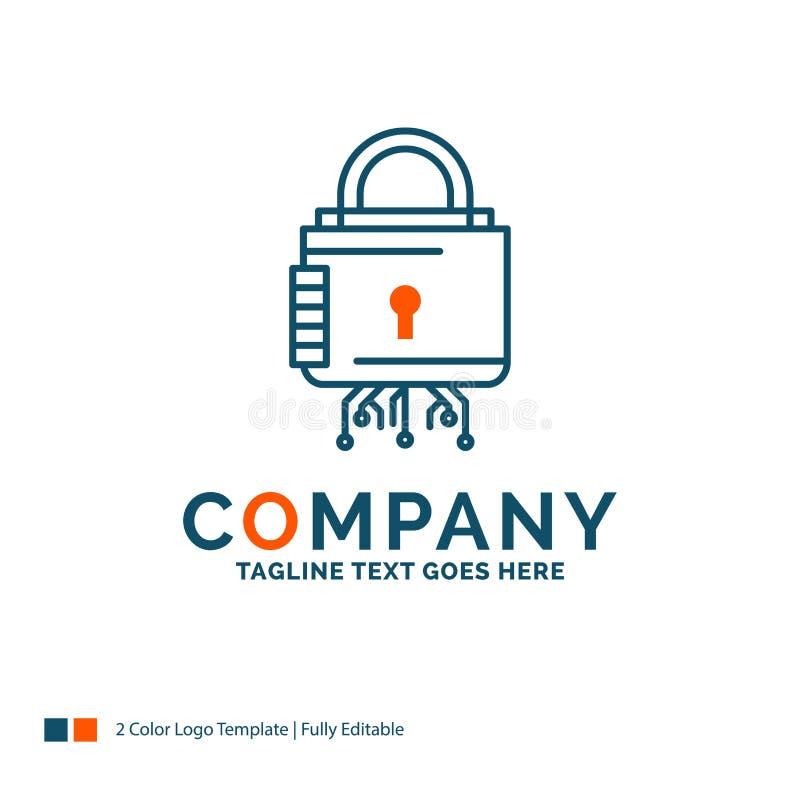 Sécurité, cyber, serrure, protection, Logo Design sûr Bleu et illustration libre de droits