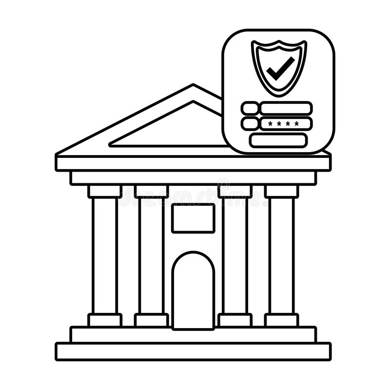 Sécurité d'avant d'édifice bancaire noire et blanche illustration de vecteur