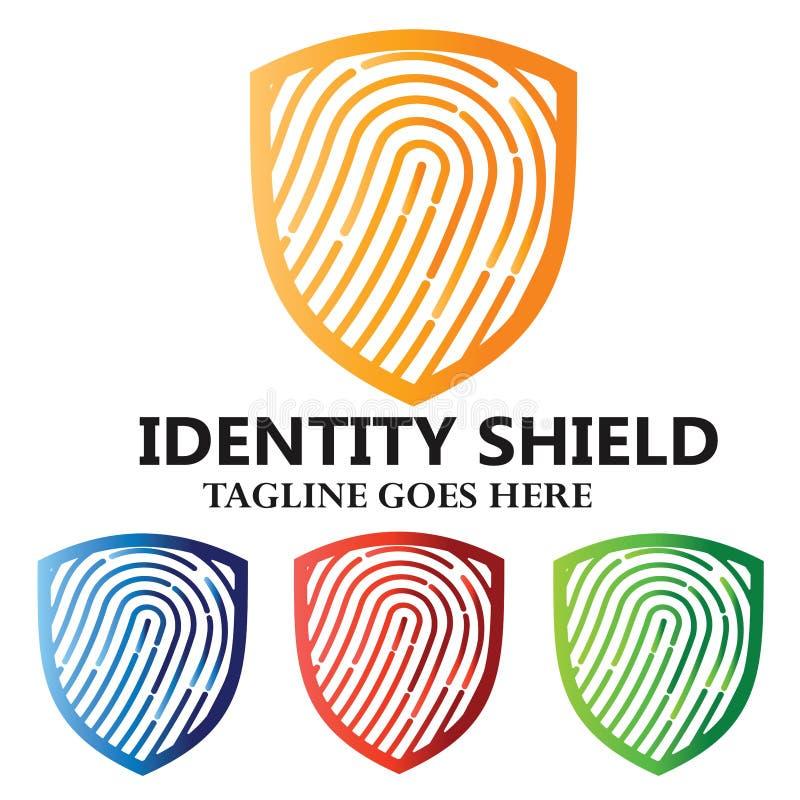 Sécurité d'empreinte digitale de bouclier d'identité illustration libre de droits
