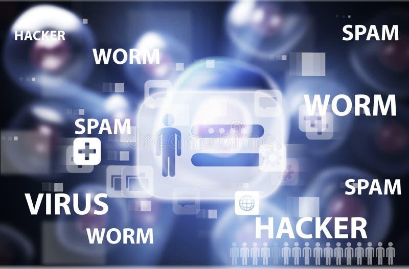 Sécurité d'Internet de virus des attaques de virus illustration stock