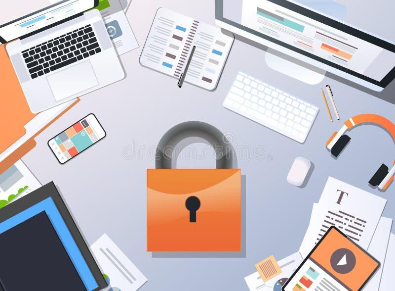 Sécurité de bureau réglementaire de l'information d'intimité de cadenas de vue d'angle supérieur de concept de la protection des  illustration stock