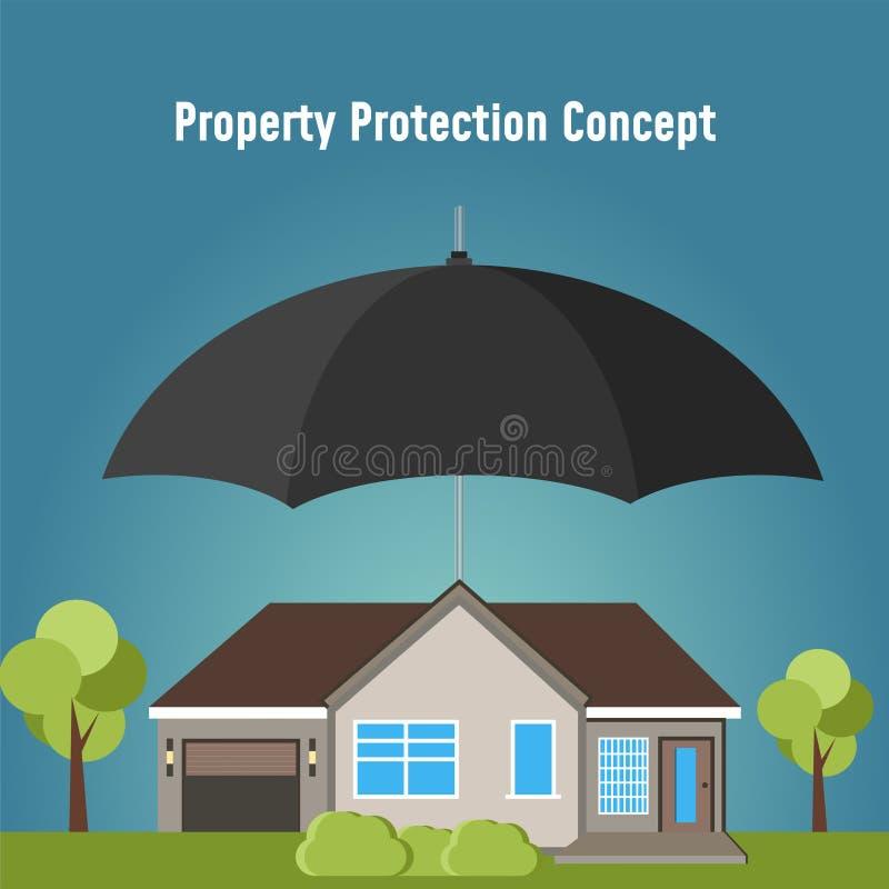 Sécurité de concept de propriété Maison d'assurance L'agent d'assurance se tient à disposition de la maison, protection contre le illustration de vecteur