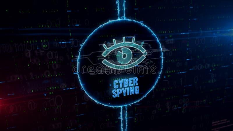 Sécurité de Cyber avec l'hologramme de espionnage d'oeil en cercle électrique illustration de vecteur
