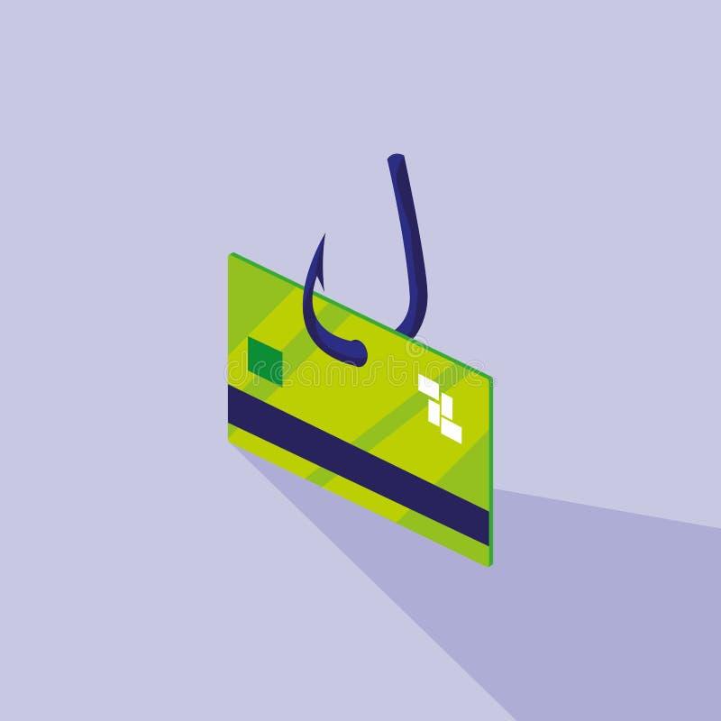 Sécurité de Cyber avec la carte de crédit et l'hameçon illustration de vecteur