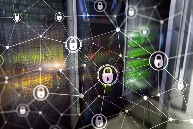 Sécurité de Cyber, intimité de l'information, concept de protection des données sur le fond moderne de pièce de serveur Internet  illustration de vecteur