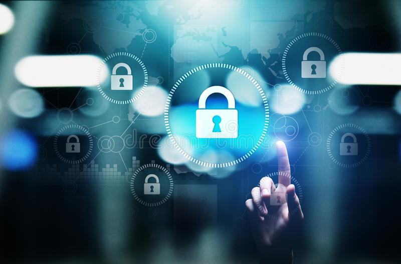Sécurité de Cyber, intimité de l'information, protection des données Internet et concept de technologie sur l'écran virtuel photos stock