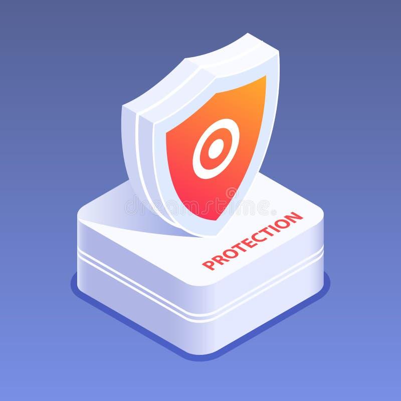 Sécurité de Cyber ou concept de protection Mot de passe sûr et données personnelles, identification Illustration isométrique plat illustration de vecteur
