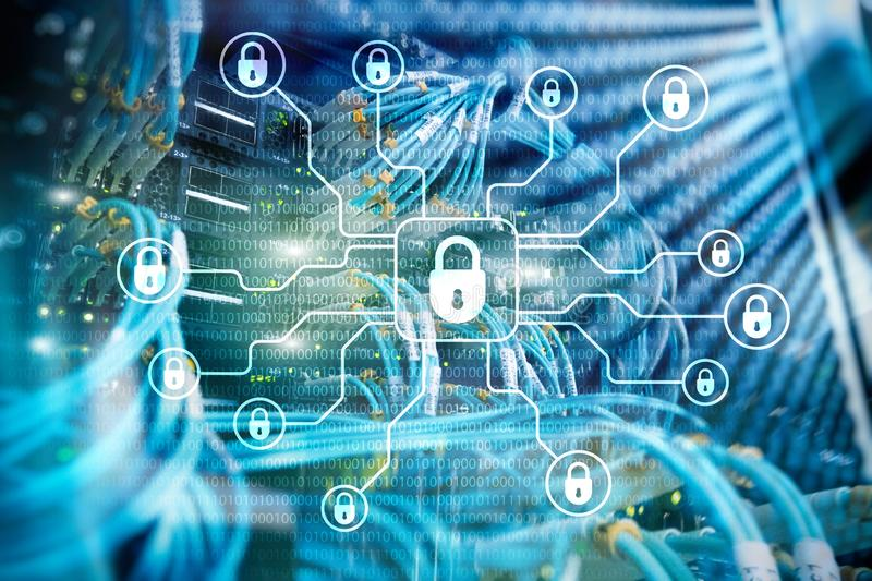 Sécurité de Cyber, protection des données, intimité de l'information E illustration libre de droits