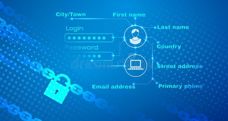 Sécurité de fond personnel d'abrégé sur données illustration libre de droits