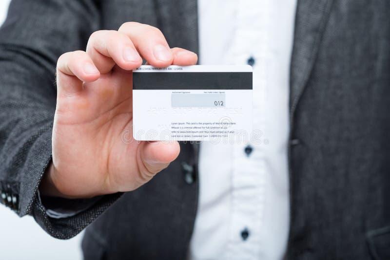 Sécurité de protection des données de fraude de carte de crédit d'homme image libre de droits