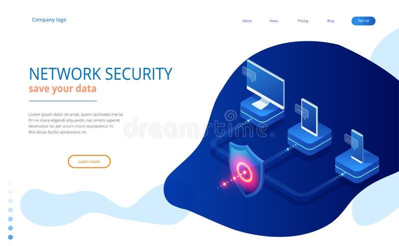 Sécurité de réseau de protection et sûr isométriques votre concept de données Calibres Cybersecurity de conception de page Web Cr illustration de vecteur