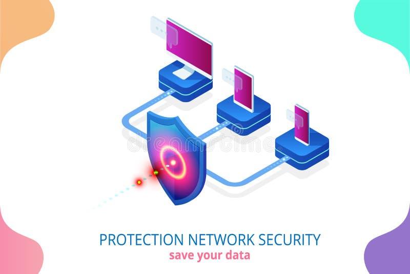 Sécurité de réseau de protection et sûr isométriques votre concept de données Calibres Cybersecurity de conception de page Web Cr illustration libre de droits