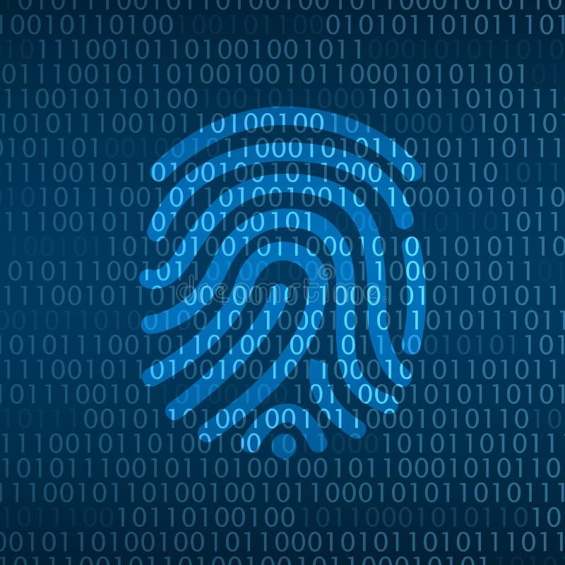 Sécurité de technologie de Cyber, identification d'empreinte digitale sur l'écran numérique illustration libre de droits