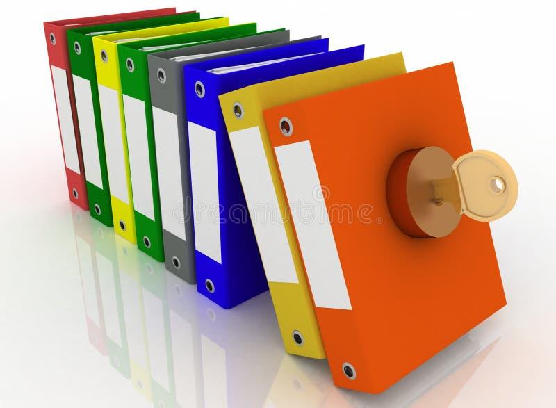 Sécurité des documents et des dépliants de bureau illustration stock