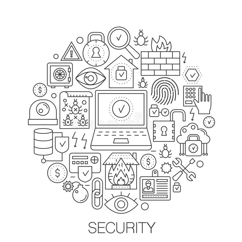 Sécurité en cercle - illustration au trait concept pour la couverture, emblème, insigne Ligne mince icônes de sécurité de course  illustration de vecteur