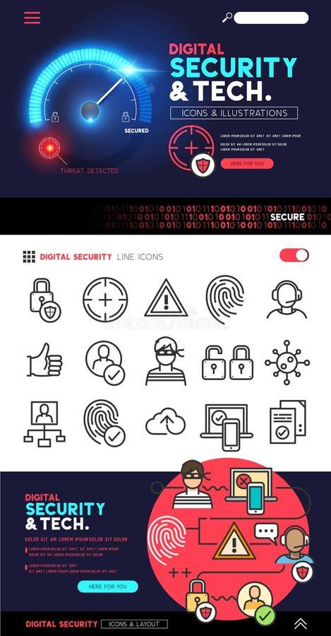 Sécurité et technologie de Digital illustration libre de droits