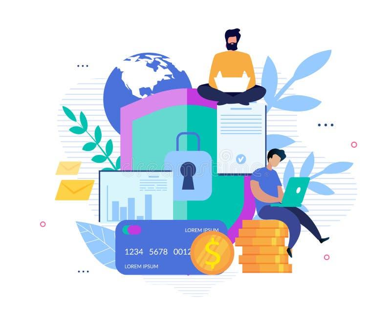 Sécurité globale pour le compte et les opérations bancaires en ligne illustration libre de droits