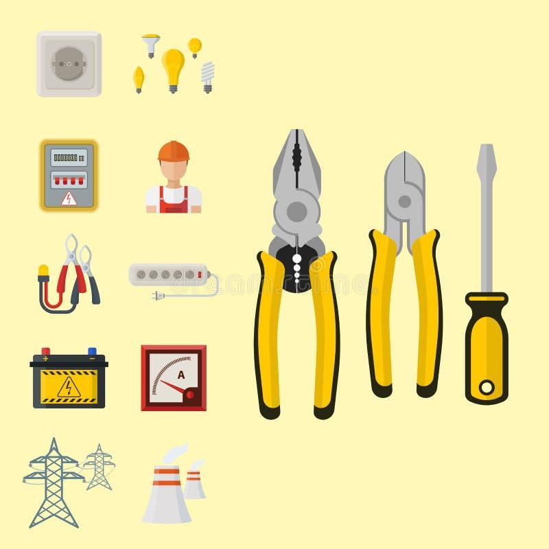Sécurité industrielle d'usine de l'électricité de tension d'électricien d'illustration de batterie d'icônes de puissance de vecte illustration stock