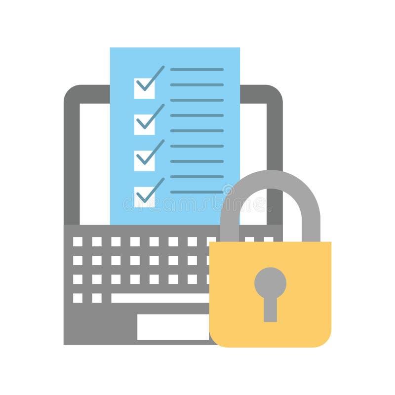 Sécurité logistique de achat en ligne de liste de contrôle d'ordinateur portable illustration libre de droits