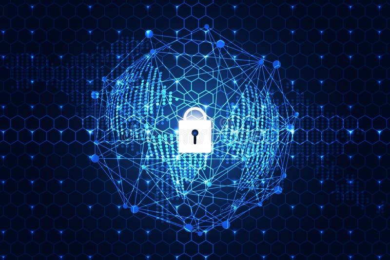Sécurité numérique de cyber de lien de technologie du monde abstrait de concept dessus illustration de vecteur