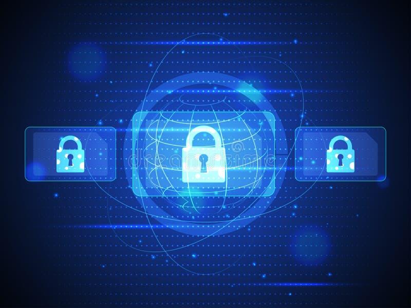 Sécurité numérique de technologie de communication et de données de cyber illustration stock