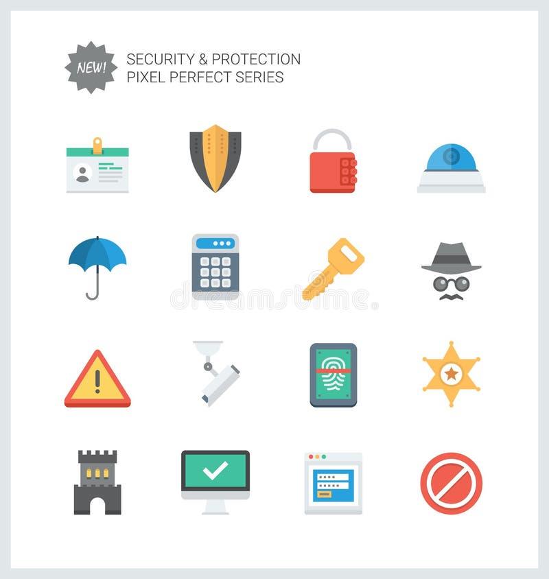 Sécurité parfaite de pixel et icônes plates de protection illustration de vecteur