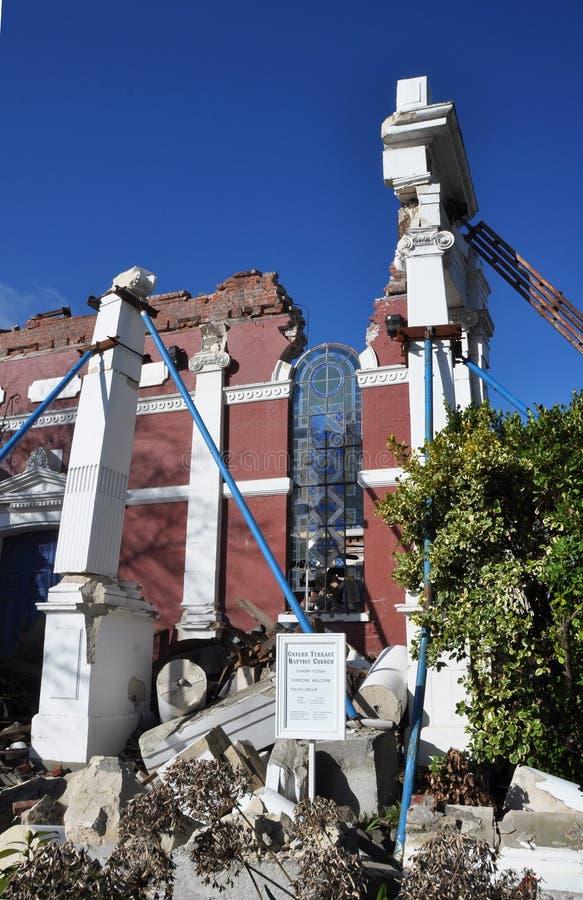 Séisme de Christchurch - église baptiste dans les ruines photographie stock libre de droits