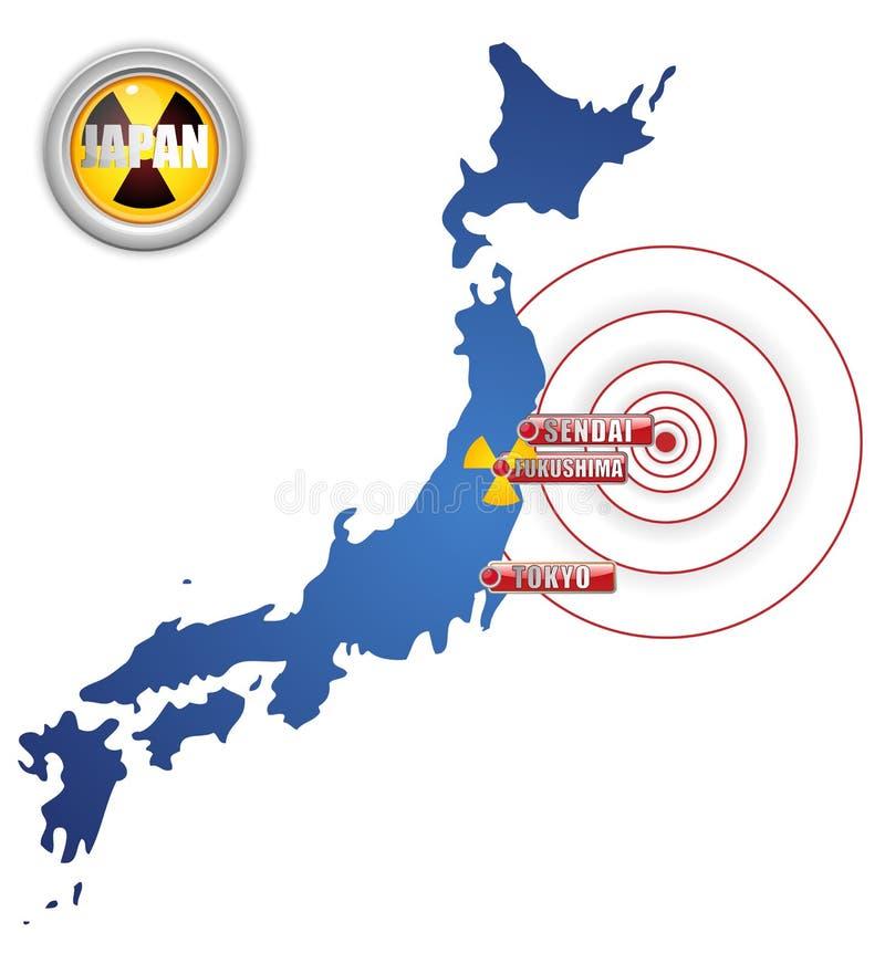 Séisme du Japon, tsunami et désastre nucléaire illustration stock