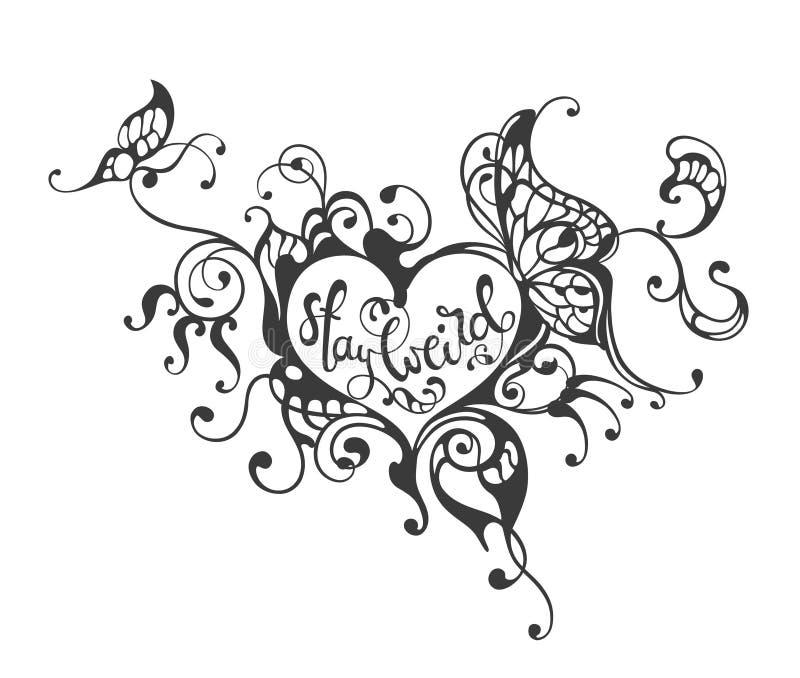 Séjour étrange - inscription du texte dans le cadre fleuri de coeur illustration de vecteur
