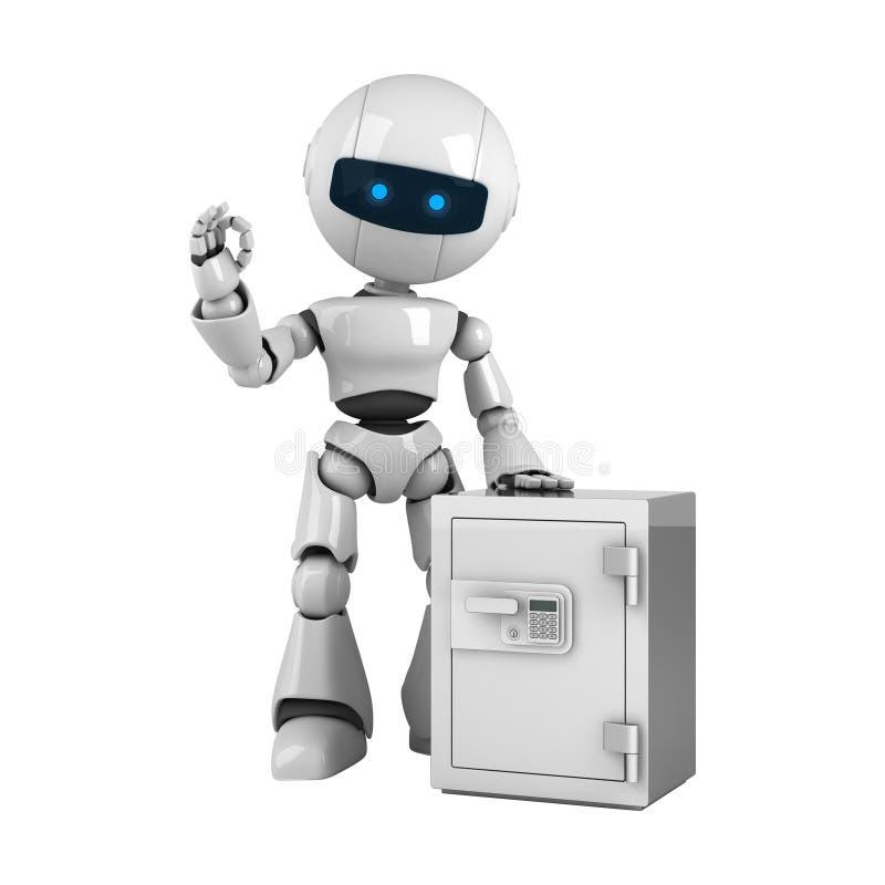 Séjour blanc de robot avec le coffre-fort illustration libre de droits