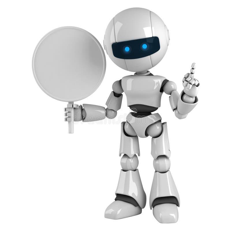 Séjour blanc de robot avec le signe blanc illustration libre de droits