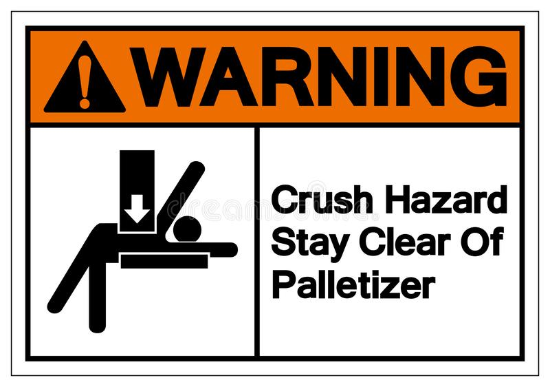 Séjour d'avertissement de risque d'écrasement dégagé du signe de symbole de Palletizer, illustration de vecteur, d'isolement sur  illustration stock