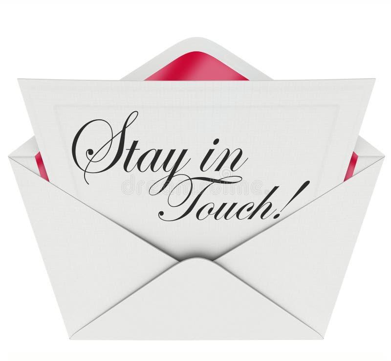 Séjour dans la communication de lettre de contact maintenant mise à jour illustration stock