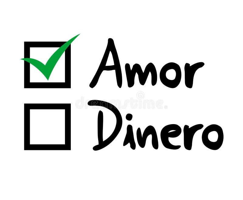 Sélection d'amour ou d'argent dans le langauge espagnol illustration stock