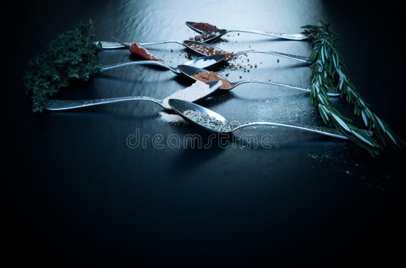 Sélection d'herbes et d'épices, vieilles cuillères en métal et chli sur b noir image libre de droits