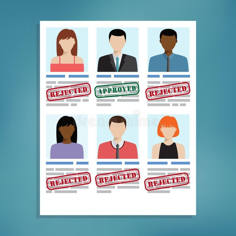Sélection de candidat pour le travail illustration stock
