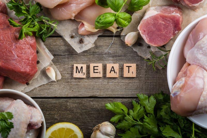 Sélection de différentes coupes de viande image stock