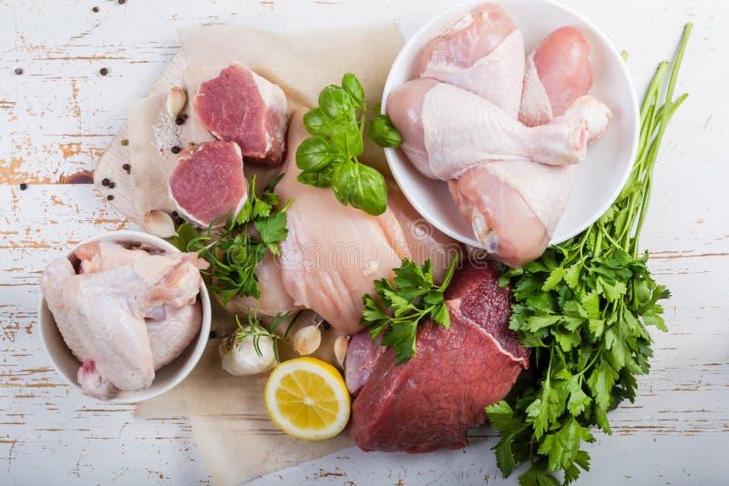 Sélection de différentes coupes de viande image libre de droits