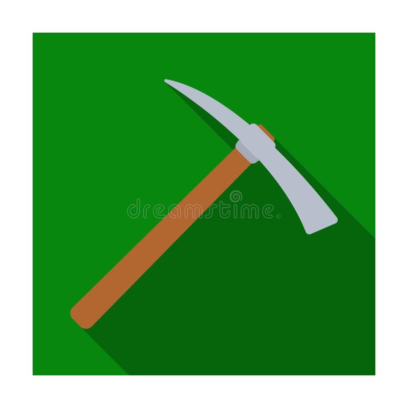 Sélection de fer avec la poignée en bois en bois L'outil de criminels pour tuer Icône simple de prison en stock plat de symbole d illustration libre de droits