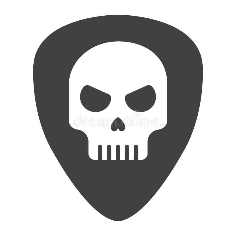 Sélection de guitare avec l'icône de glyph de crâne, musique illustration de vecteur
